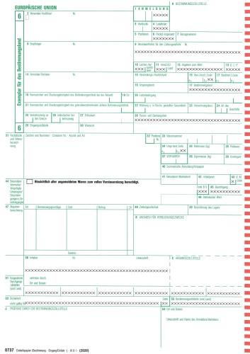 0737 Einheitspapier Bestimmung (Eingang/Einfuhr) 4-fach, mit 1 Ausstellerkopie, für Laserdrucker Blatt 6,7,8,Kopie für den Aussteller (0737), VPE 50 Satz