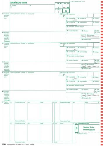 0738 Einheitspapier Ergänzungsvordruck zu 0737, 3-fach selbstdurchschreibend, Blatt 6,7,8 (0738), VPE 50 Satz