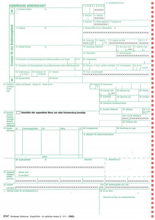 0747 Einheitspapier Bestimmung (Eingang/Einfuhr) + Blatt 6 als Einfuhrkontrollmeldung, 4-fach selbstdurchschreibend, Blatt 6,7,8,6 - ( 0747), VPE 50 Satz