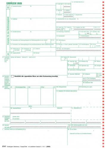 0747 Einheitspapier Bestimmung (Eingang/Einfuhr) + Blatt 6 als Einfuhrkontrollmeldung, 4-fach für Laserdrucker Blat 6,7,8,6 (0747), VPE 50 Satz
