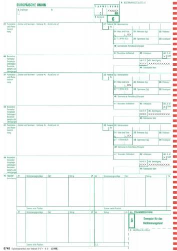 0748 Einheitspapier -Ergänzungsvordruck zu 0747, 4-fach selbstdurchschreibend, Blatt 6,7,8,6  (0748), VPE 50 Satz