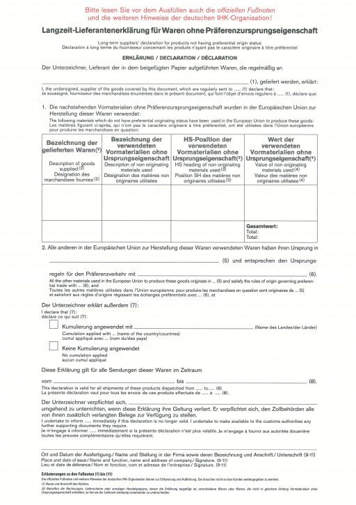 Lieferantenerklärung, Langzeiterklärung für Waren ohne Präferenzursprungseigenschaft / VPE 100 Stück