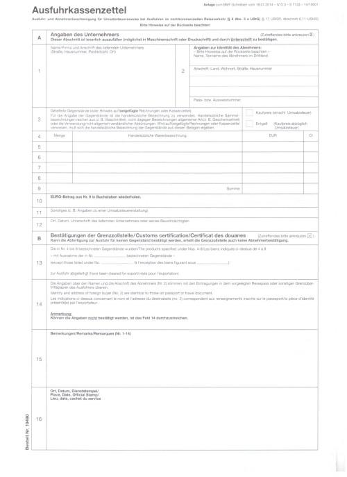 Ausfuhr- und Abnehmerbescheinigung für Umsatzsteuerzwecke, Ausfuhrkassenzettel, VPE 100 Stück