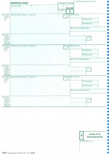 0770 Einheitspapier Ergänzungsvordruck zu 0769, 1-fach für Laserdrucker (0770), VPE 100 Stück