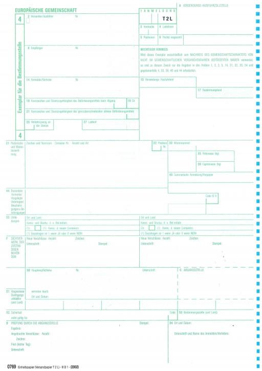 0769 Einheitspapier - Versandpapier COM T 2 L bzw. -Artikel 41- 1-fach, Blatt 4 für Laserdrucker, (0769), VPE 100 Stück