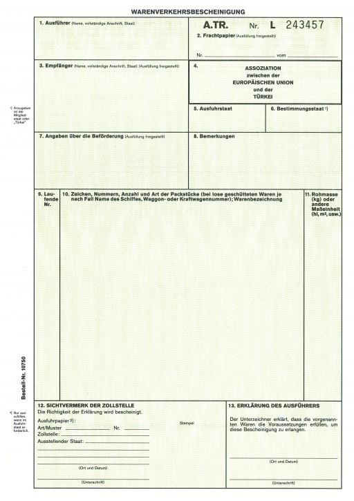 Warenverkehrsbescheinigung A.TR. für die Türkei 2-fach, für Laserdrucker, VPE 50 Satz