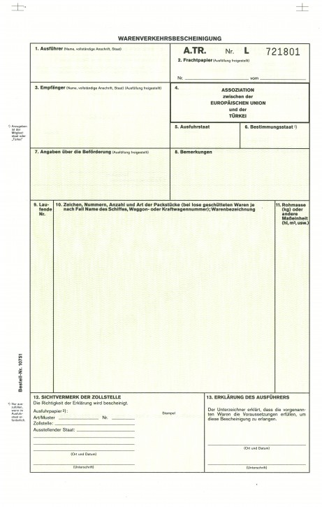Warenverkehrsbescheinigung A.TR. für die Türkei 2-fach, selbstdurchschreibend, VPE 50 Satz