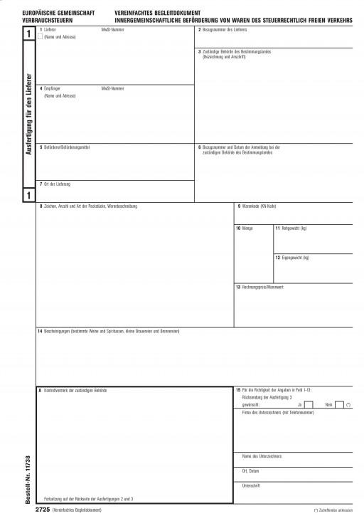 Vereinfachtes Begleitdokument Verbrauchssteuern, 3-fach, für den Laserdrucker (2725), VPE 50 Satz