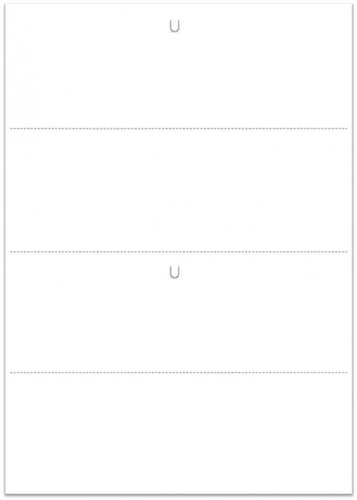 VDA-Warenanhänger - Blanko, 21 x 29,7 cm (2 x A5) 150g Offsetkarton weiß 3 x querperforiert, 2 x U-Stanzung (Daumenlasche) , VPE 500 Blatt A4 = 1.000 Nutzen A5