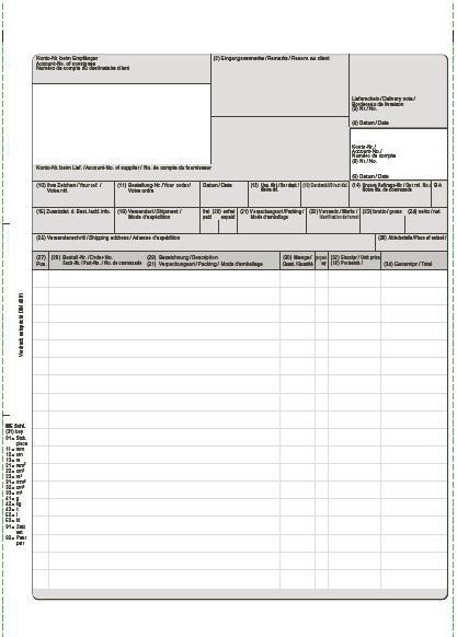 VDA-Endlos-Rechnung 5fach nach DIN 4991, selbstdurchschreibend, 25 cm x 12 Zoll, VPE 500