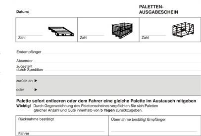 Palettenschein DIN A5 quer Block