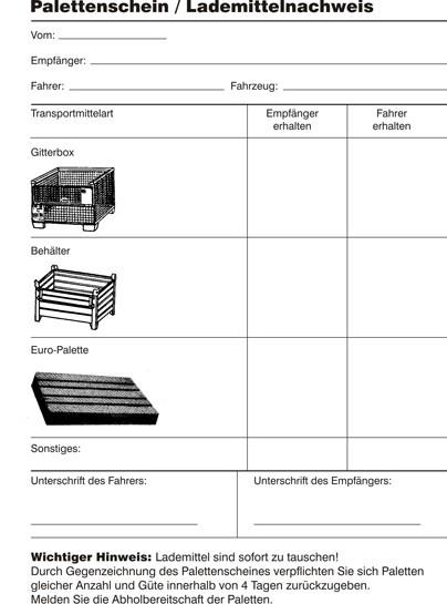 Palettenschein DIN A5 hoch Block