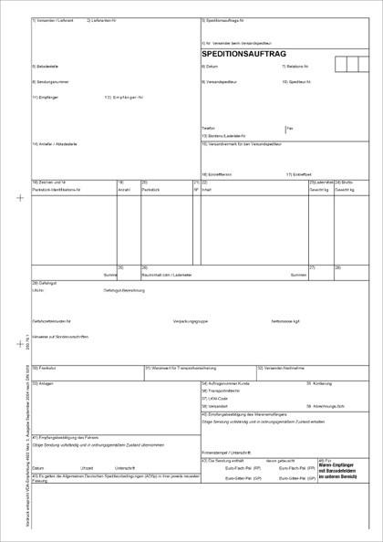 VDA-Speditionsauftrag nach VDA 4922 für Laser-/Tintenstrahldrucker Blatt 1-5 lose im Wechsel 80g weiß SM, 21 x 29,7 cm, VPE 50 Satz