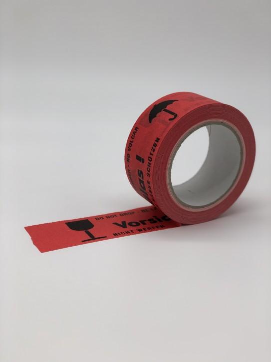"""Warnbänder aus Papier Druckbild: """"Vorsicht Glas"""" selbstklebend/Naturkautschukkleber 50 mm breit x 50 m lang / VPE 36 Rollen"""