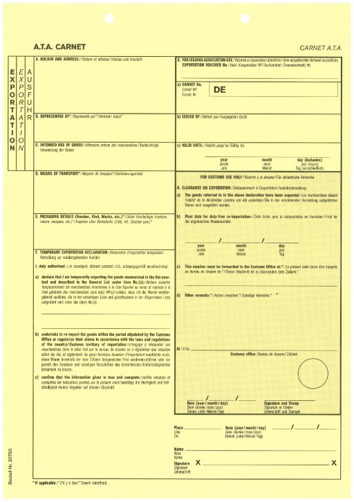 Carnet A.T.A. Exportation/Ausfuhrblatt (gelb) 1-fach, mit Perforation, VPE 100 Stück
