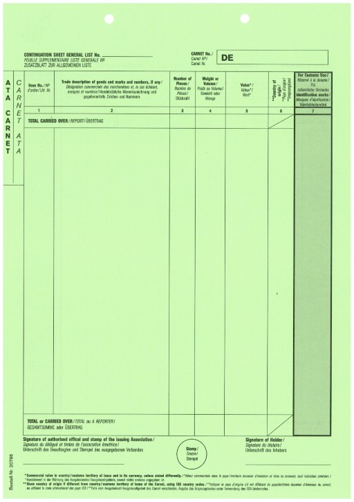 Carnet A.T.A. Zusatzblatt (grün) 1-fach, ohne Perforation, VPE 100 Stück