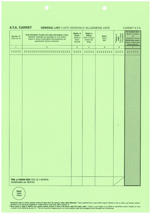 Carnet A.T.A. nur Deckblatt, grün, VPE 100 Stück