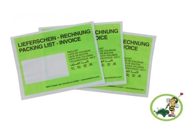Lieferscheintaschen C6 Grün aus Papier, VPE 500 unververpackt zu 250 Stück