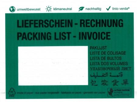 """Dokumententaschen C6 linio verda® mit Druck """"Lieferschein/Rechnung"""", in 8 Sprachen, klimaneutral aus Pergamin, mit Anklebeverschluß, Innenmaß: ca.162x120mm, VPE 1.000 Stück"""