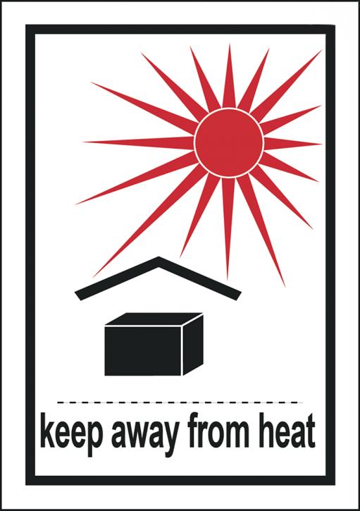 Keep away from heat, Format 7,4 cm x 10,5 cm, Folie, VPE 100 Stück
