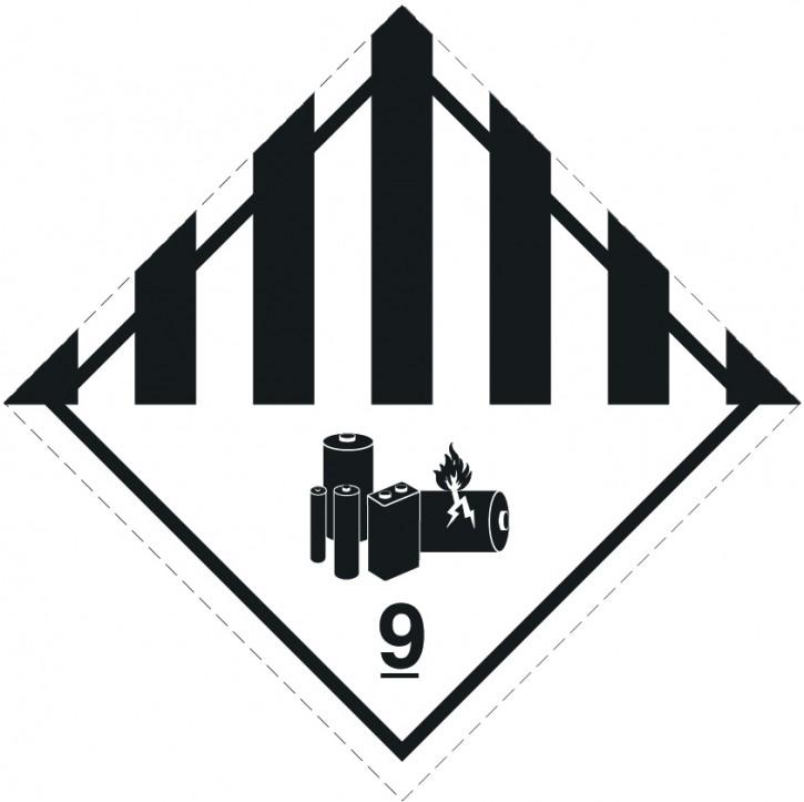 Klasse 9A für Lithiumbatterien, Format 10 cm x 10 cm, Folie, auf Rolle à 500 Stück