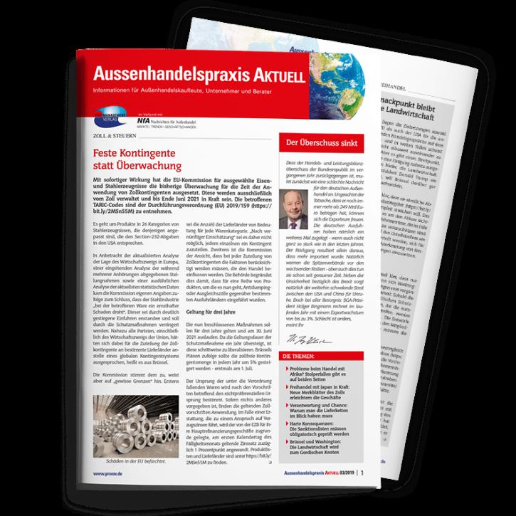 Aussenhandelspraxis AKTUELL Abonnement - Broschüre mit Ringösenheftung DIN A4, 8 Seiten