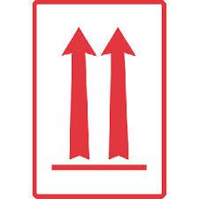 """Richtungspfeil """"oben"""", rot, Format 7,4 cm x 10,5 cm, Folie, VPE 100 Stück"""