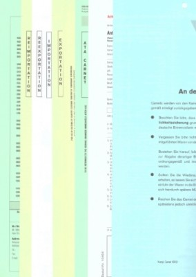 Carnet A.T.A. komplett mit Antrag und Merkblatt 12-fach, VPE 10 Satz