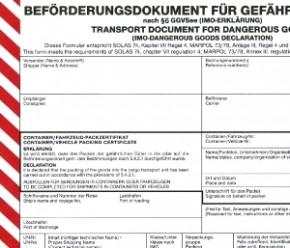 Beförderungsdokument für gefährliche Güter nach §6 GGVSee (IMO-Erklärung), VPE 100 Stück