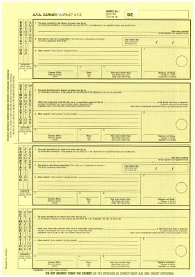 Carnet A.T.A. Exportation/Reimportation (gelb) 1-fach, VPE 100 Stück